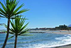 Beach in Puerto Banus in Andalusia, Spain Stock Images