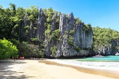 The beach of Puerto Princesa, Philippines. This photo was taken in Palawan island. El Nido Palawan Philippines has some of the most beautiful scenery we have royalty free stock image