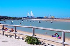 Beach of Puerto Real and the bridge of the Constitution Pepa to the bottom in Cadiz Stock Image
