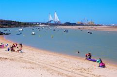 Beach of Puerto Real and the bridge of the Constitution Pepa to the bottom in Cadiz Stock Photo