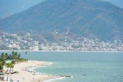 Beach in Puerto Vallarta coast. Hotels in beach Puerto Vallarta Mexico Royalty Free Stock Images