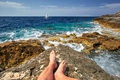 Free Beach, Pula Croatia, Croatia Rocky Beaches Royalty Free Stock Photography - 75669917