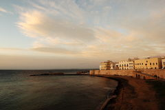 Beach of Purità in Gallipoli - Italy. The purity of the beach at Gallipoli in light of sunset Royalty Free Stock Photos
