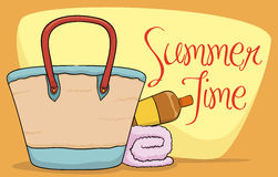 Beach Purse, Sunscreen Lotion and Towel in Summer Poster, Vector Illustration Royalty Free Stock Photos