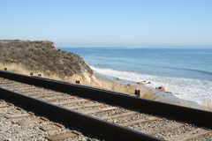 Beach Railroad Royalty Free Stock Photo