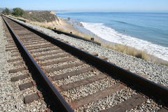 Beach Railroad Stock Photo