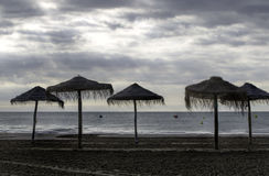 Beach in rainy weather Royalty Free Stock Photography