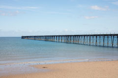 Beach Ramsey Isle of Man. Sandy beach and long pier of Ramsey on the Isle of Man British Isles Royalty Free Stock Images