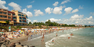 Beach in Ravda, Bulgaria. Ravda - ancient Bulgarian seaside town famous discoveries of ancient Slavic settlements. Located on the past in the Black Sea peninsula stock images