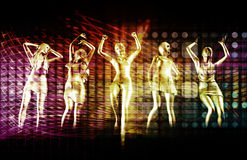 Beach Rave Party. With Disco Dancing Girls Stock Image