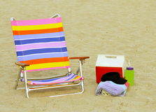 Beach Ready. Chair and Beach accessories on sand stock image
