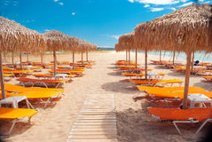 Beach ready for summertime. In Greece stock photography