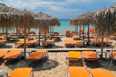 Beach ready for summertime in Greece Royalty Free Stock Photography