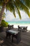 Beach reastauruant. Beach restaurant at a luxury tropical resort, Maldives Royalty Free Stock Image