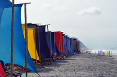 Beach recliners and canopy at beach Royalty Free Stock Photo
