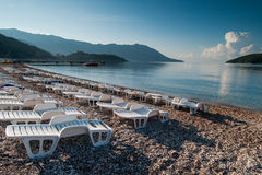 Beach recliners and facilities in Budva, Montenegro Royalty Free Stock Photo