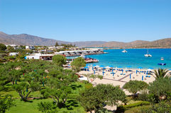 Beach and recreation area of luxury hotel. Crete, Greece Stock Photography