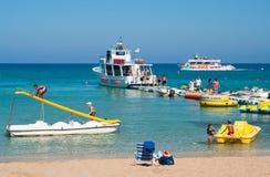Beach recreations in Cyprus. AGIA-NAPA, CYPRUS – SEPTEMBER 17: Beach recreations in Nissi beach resort on September 17, 2011 in Agia-Napa, Cyprus Royalty Free Stock Photos