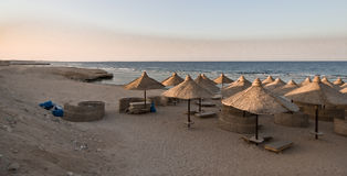 Beach at Red sea. Beach with umbrella at Reds sea Stock Images