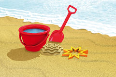 Beach red toys Royalty Free Stock Image