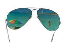 Beach reflection in sunglasses Royalty Free Stock Photography