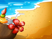 A beach and a refreshing drink. Illustration of a beach and a refreshing drink Stock Images