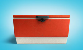 Beach refrigerator Cooler red 3d render on blue gradient Royalty Free Stock Photography