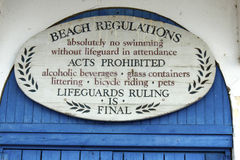 Beach Regulations Stock Image