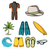 Beach related icon set. A collection of pictures on the theme of the beach, the sea, surfing. Rescuers of the beach.Surfing icon in set collection on cartoon Royalty Free Stock Photography