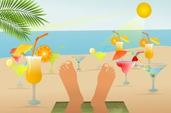 Beach relaxation and drinks Royalty Free Stock Images