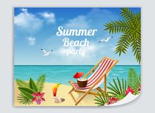 Beach Relaxation Leaflet Poster Stock Photos