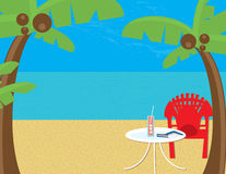 Beach Relaxation. Tropical beach with palm trees, beach chair, lemonade and a good book.  Plenty of copyspace; subtle texture in sand, water and sky Stock Image