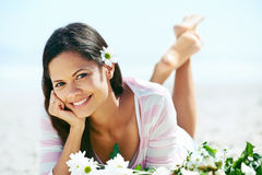 Beach relaxing woman Royalty Free Stock Photography