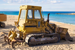 Beach renovation with heavy excavator machine, Cyprus Royalty Free Stock Photos