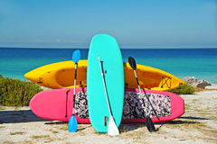Beach Rentals. Paddle Boarding and Kayak Rentals on the Beach Royalty Free Stock Image