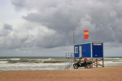 Beach rescue station. At dark cloudy day with stormy sea Royalty Free Stock Photo