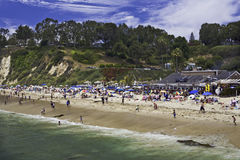 Beach Resort. Bathers crowd beach on a sunny day in California Stock Photo