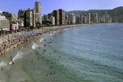 Beach Resort. Benidorm beach front on the Costa Blanca Spain Royalty Free Stock Photography
