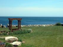 Beach Resort. Beautiful beach resort garden with ocean view Stock Images
