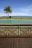 Beach Resort. On a pier overlooking a man-made pool and beach royalty free stock photo