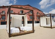 Beach Resort Cabanas Stock Photo