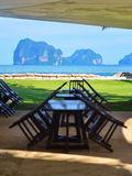 Beach resort dining area with view of the Andaman Sea Stock Photos