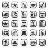 Beach, resort and entertainment icons Royalty Free Stock Images
