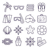 Beach, resort line icons. Palm, sunglasses, flip flops, diving mask, shell and other holiday elements. Royalty Free Stock Images
