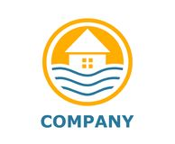 Beach resort logo 6. Logo design idea illustration for resort hotel business company on beach or bay shape like sunset in circle Stock Image