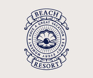 Beach resort logo with shell Royalty Free Stock Photography