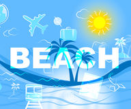 Beach Resort Means Ocean Beaches And Holiday. Beach Resort Representing Resorts Word And Coasts vector illustration