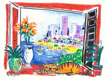 Beach resort painting. Fine art illustration of beach resort from window with orange cat and flowers in foreground Stock Photo