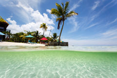 Beach resort on remote seaside island in Caribbean stock photo