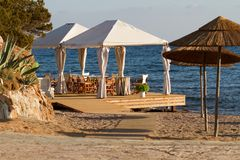 Beach resort restaurant at sunset Royalty Free Stock Photos